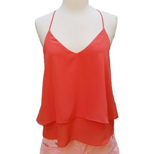LOVERS + FRIENDS Hot Coral Tiered Racerback Tank